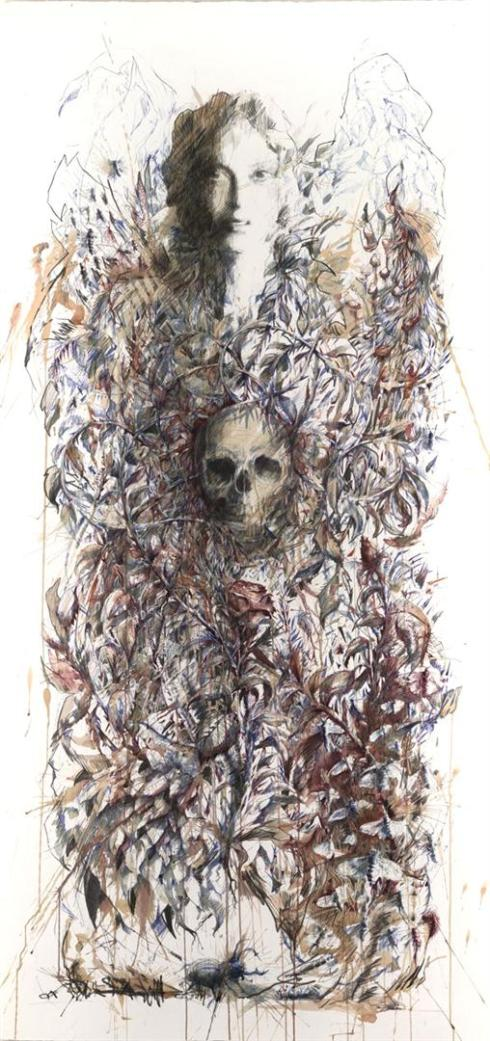 Mortal - Ink and tea on paper by Carne Griffiths