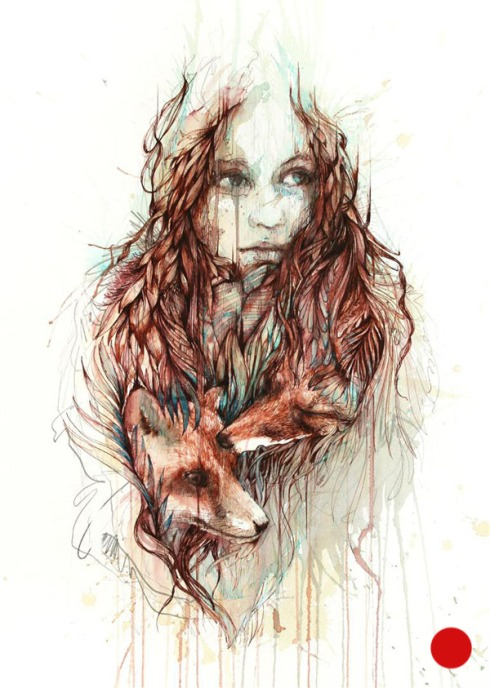 Comfort - Ink and tea on paper by Carne Griffiths - Sold