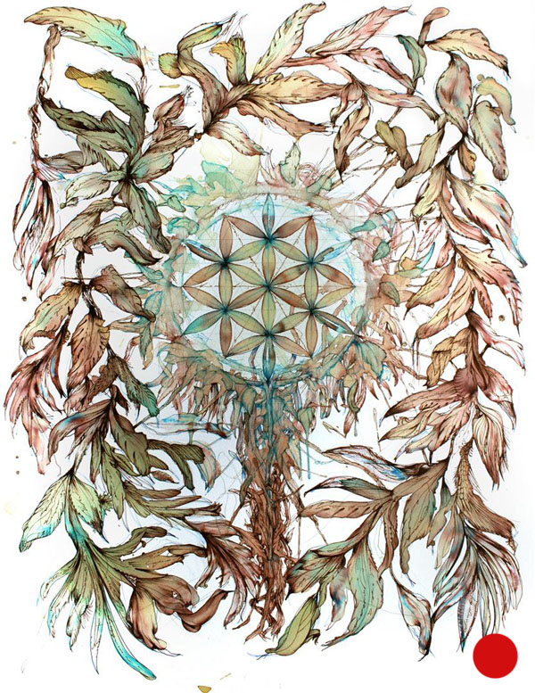 Flower of life unlit - Ink and tea on paper by Carne Griffiths - Sold