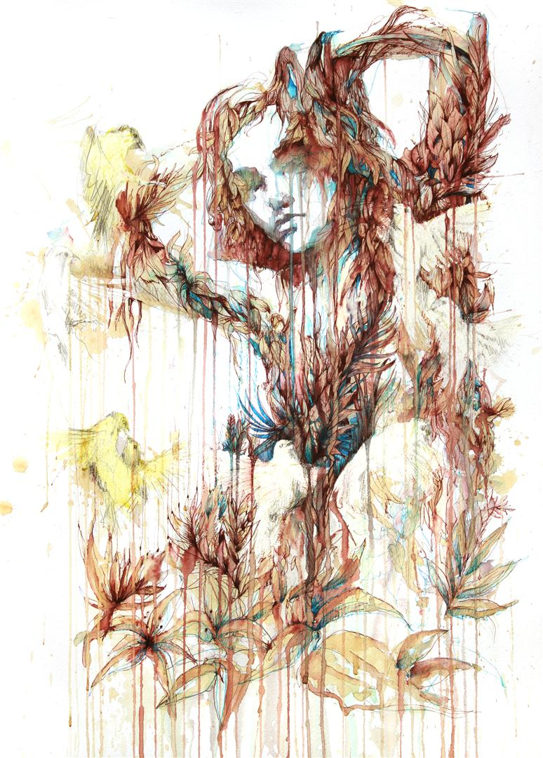 Spring Will Come - Ink and tea on paper by Carne Griffiths