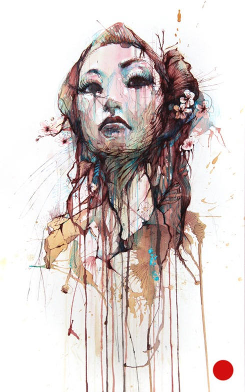 Strength - Ink and tea on paper by Carne Griffiths - Sold